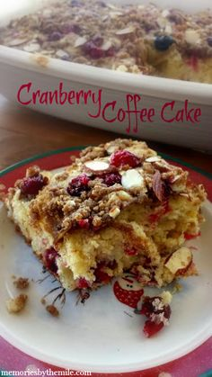 This Cranberry Coffee Cake is delicious! The streusel topping with the slivered almonds is the best, along with a cake that is moist and full of flavor.