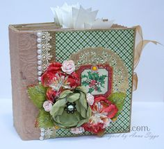 I created this sturdy scrapbook album from heavy weight chipboard, covered with high quality patterned papers from Graphic 45 & cardstock, and decorated with high quality embellishments.  The album has a total of 12 pages with inserts and several additional pockets and flaps to insert your photos and the album measures about 6,5x6,5 and is approx 2,5 inches wide. The album holds more than 25 + photos  Lots of beautiful embellishments including silk flowers, chipboard elements, tags, ribbo...