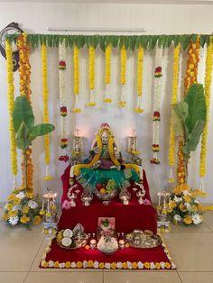 ethnic home decor Diwali Decorations At Home, Wedding Hall Decorations, Backdrop Decorations, Festival Decorations, Flower Decorations, Mandir Decoration, Ganpati Decoration Design, Ganapati Decoration, Ganesh Chaturthi Decoration
