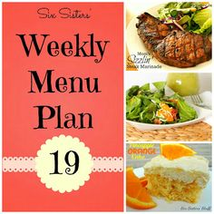 Weekly menu plan. Every meal looks so delicious!! I'm  doing it this week!