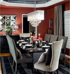 Like the color contrasts.  Dramatic Contemporary Dining Room by Jane Lockhart on HomePortfolio