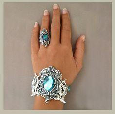 elfen Drachen Silber Armband blau facettiertem von MirellaFactory