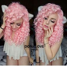 Pink curly girly dyed hair