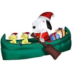 Animated Airblown Snoopy in Canoe Peanuts Christmas Inflatable