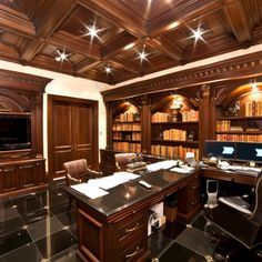home office design elegant traditional home office ideas for men with elegant teak wood desk and shelves also dark brown office chair also