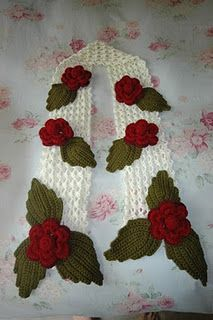 crocheted roses scarf