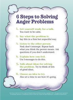 Free printable for teachers, counselors, and parents on anger management and conflict resolution: 6 Steps to Solving Anger Problems