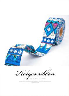 Blue Ethnic Style Fabric Folding Ribbon / 2''(50mm) / made in korea by HOLYCO on Etsy