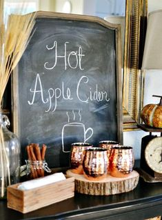 Apple cider station with copper mugs. I want copper mugs! Apple Cider Bar, Autumn Decorating, Decorating Ideas, Decor Ideas, Autumn Display, Fall Displays, Thanksgiving Activities, Outdoor Thanksgiving, Thanksgiving Ideas