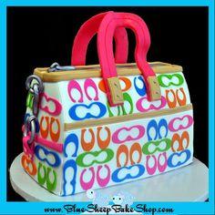 Rainbow Coach Sculpted Purse Birthday  Cake