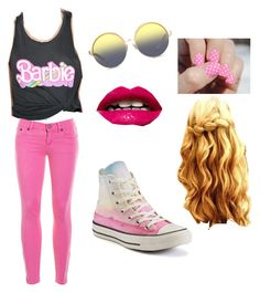 """""""Barbie"""" by kennyleeann ❤ liked on Polyvore featuring Junk Food Clothing, J.Crew, Converse, Matthew Williamson and SoGloss"""