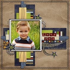 Wrinkled Brown Paper Boy's Page...paper strip technique scrapbook layout