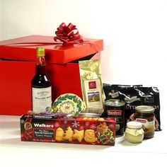 Christmas hamper with the best Scottish foods hand packed in a striking red gift box.