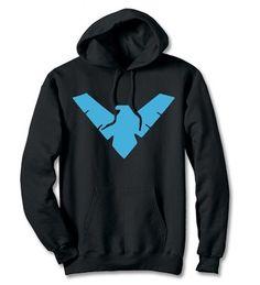 black Batman hoodie with the Nightwing Symbol.