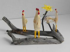 Hand Carved Roosters Chickenand Flowers by JJLadellsWoodcarving, $38.50 #RT #promooasis #promoasis
