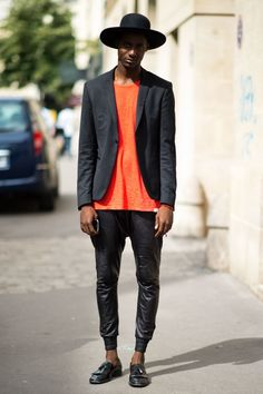 21EME ARRONDISSEMENT STREET STYLE MENS TANGERINE ORANGE SHIRT WIDE BRIM WIDE HAT…
