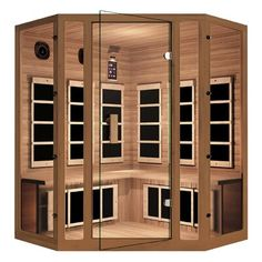 Relieve stress and improve health in the convenience of your home with this JNH Lifestyles Freedom Four-Person Corner Far Infrared Sauna. Best Infrared Sauna, Infrared Heater, Red Cedar Wood, Western Red Cedar, Sauna For Sale, Infared Sauna, Sauna Benefits, Portable Sauna, Traditional Saunas
