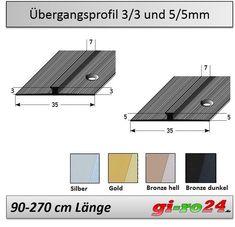4 Farben, 3mm oder 5mm Vinyl Übergangsprofil Dehnfugenprofil 90-270cm