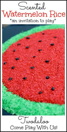 An invitation to play with watermelon-scented sensory rice! The setup was what really made it fun ;)