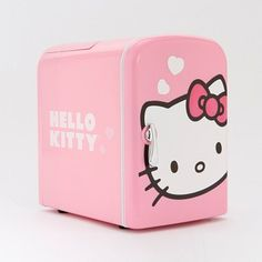 Hello Kitty mini fridge and it's pink. i love this for my bed room <3