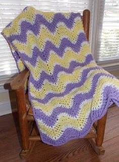 Crochet Striped Ripple Blanket ... READY TO by sweetpeacollections, $25.00