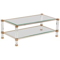 Pierre Vandel Lucite, Glass And Brass Coffee Table