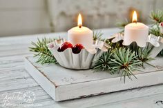Little tart tins make adorable candle holders. Attach them to a board, fill with non-flammable fake snow (or sugar), and add some cranberries & evergreen for an inexpensive and easy Christmas centerpiece. ~~~via Knick of Time knickoftimeinteri...