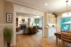 Kitchen Living Rooms Remodeling open concept, doorway trim, hardwood floors - love it all