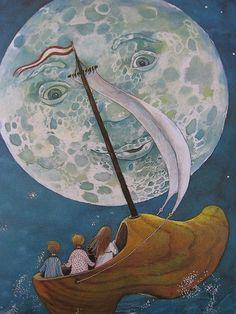 Baby sleep illustration the moon Ideas Sun Moon Stars, Good Night Moon, Illustrators, Moon Art, Illustration, Moon Child, Art, Fairy Tales, Vintage Illustration