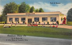 Linen Postcard Roselawn China Co in Vandalia, Ohio~111163