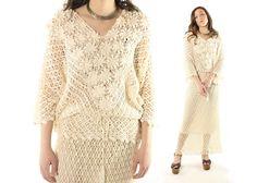 $94, Vintage 80s Crochet Skirt Blouse Hippie Boho Wedding Dress Beige Maxi Pencil Dolman Top Shirt Floral Flowers 1980s Medium M Large L by ScarletFury on Etsy