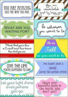 """Printable Card Drops - """"These cards are designed to be """"dropped"""" in random places for people to find, like in a returned library book, in a mailbox, or on a restaurant table."""" - or good to leave for older kids as words of encouragement Free Printable Cards, Free Printables, Printable Labels, Lunch Box Notes, Affirmation Cards, You Are Amazing, The Way You Are, Finding Joy, Love Notes"""