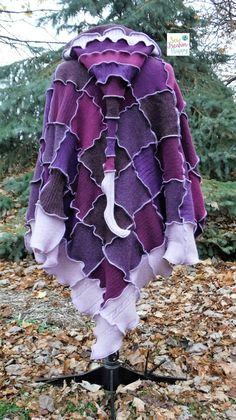 Purple hooded poncho up-cycled from recycled by SewFreakinHappy
