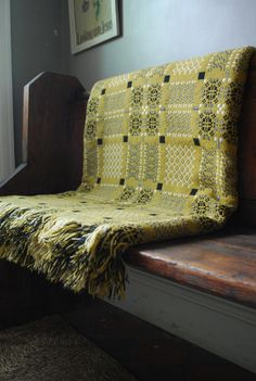 vintage melin tregwynt welsh blanket from damson & slate Textiles, Welsh Cottage, Farm Cottage, Cottage Style, Welsh Blanket, Cosy Home, Soft Furnishings, Shades Of Green, Beautiful Homes