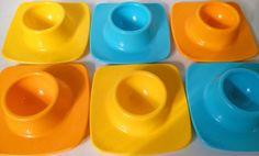 Plastic Fantastic! Retro 60s - 70s Multi Coloured Melamine Stacking Egg Cups. Set of 6. #SpaceAge #Atomic #Brighton