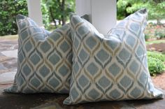 Geometric Pillow Cover with Chevron Print Accent accent 18 x 18 (EACH price) Blue and cream on Etsy, $26.99
