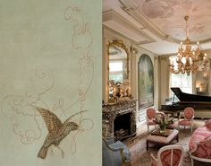 """PAINTED CEILING - Migratory Birds in a """"rococo""""room. New painted ceiling for an 18th c. periodroom in the former British consulate of Amsterdam - Peter Korver   Amsterdam. ( Detail with Starling )"""