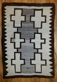 """Authentic Navajo Small Early JB Moore Crystal Rug (Blanket) 2'10"""" x 2' c. 1905"""