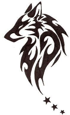 I'm definitely gonna draw this later, but I probably wont include the stars Tribal Animal Tattoos, Wolf Tattoo Tribal, Simple Tribal Tattoos, Simple Wolf Tattoo, Tribal Henna, Tattoo Wolf, Tribal Animals, Tribal Drawings, Tribal Art