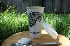 """Game of Thrones """"Winter is Coming"""" with Direwolves' names 12 oz Travel Mug with lid"""