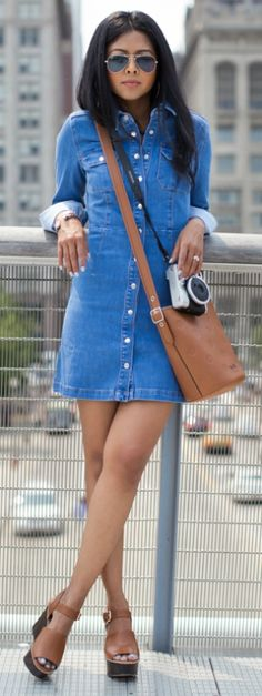 Why not mix it up with this denim shirt-dress and heels? Via Sheryl Luke Dress: Asos, Bag: Coach, Shoes: Coach