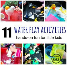 Toddlers and preschoolers love water table activities. They calm the energetic child and also strengthen fine motor skills! Teaching 2 and 3 Year Olds