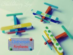 Clothespin Airplanes--great for baby shower or even a nursery! via Huckleberry Lane