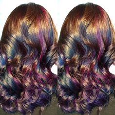 In case you haven't noticed, we're huge color lovers at Bang Salon. Here's some inspiration for loud, in-your-face, bright, and bold colorful hair. Hair Color And Cut, Cool Hair Color, Hairstyles With Bangs, Pretty Hairstyles, Long Hair Cuts, Long Hair Styles, Partial Balayage, Oil Slick Hair, Mermaid Hair