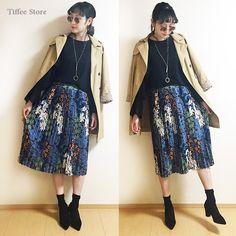 画像: レトロ花柄プリントプリーツスカート