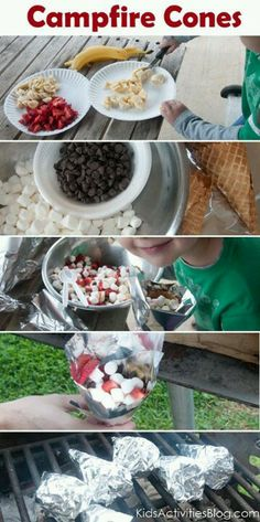 Campfire cones. @amamarie For either Friday night or Saturday night instead of s'mores?  These look tasty and easy to assemble.