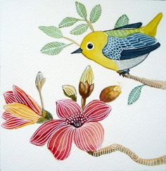 Bird with Magnolia Flower / Pink / Yellow/ Wall by sublimecolors, $35.00