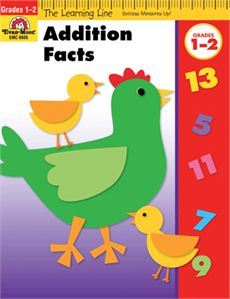 Learning Line: Addition Facts , Grades 1-2 - Activity Book from Evan-Moor.com provides early learners with engaging skill-specific practice in 32 full-color pages. Quick and captivating activities keep young learners focused as they practice important concepts such as adding numbers with sums to 19, practicing column addition with three and four numbers, and more!