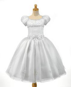 P1120 - Christie Helene Signature Communion Dress - White satin, lace and organanza ballerina length First Holy Communion Dress - UK Supplier Ascot