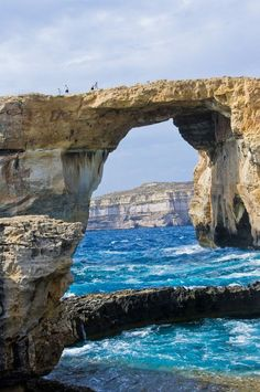 Sea Bridge, Malta. 'Bridge', rock, water, blue, clouds, breathtaking, panorama, Mother Nature, photo.